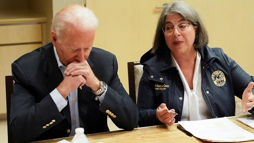 United States President Joe Biden participates in a briefing on the building collapse in Surfside, Florida, United States, on July 1, 2021.