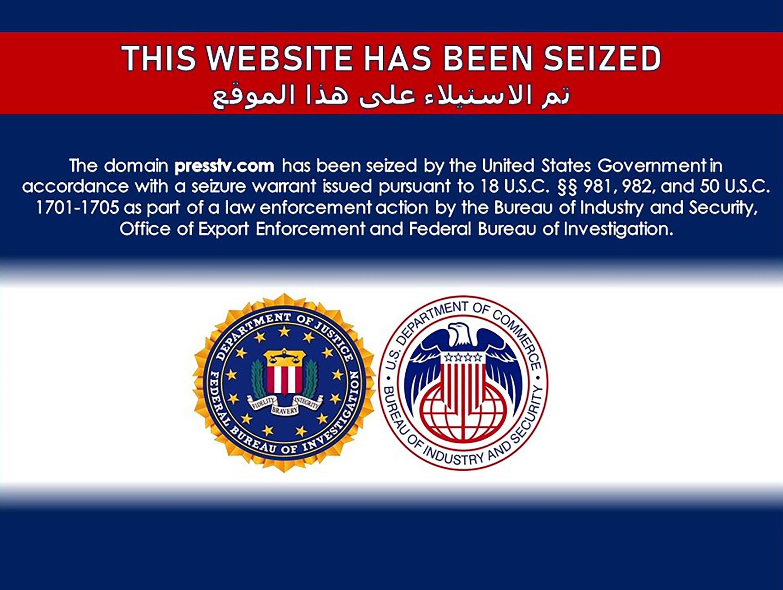 Imagen de la primera página de los sitios web iraníes bloqueados por Estados Unidos.