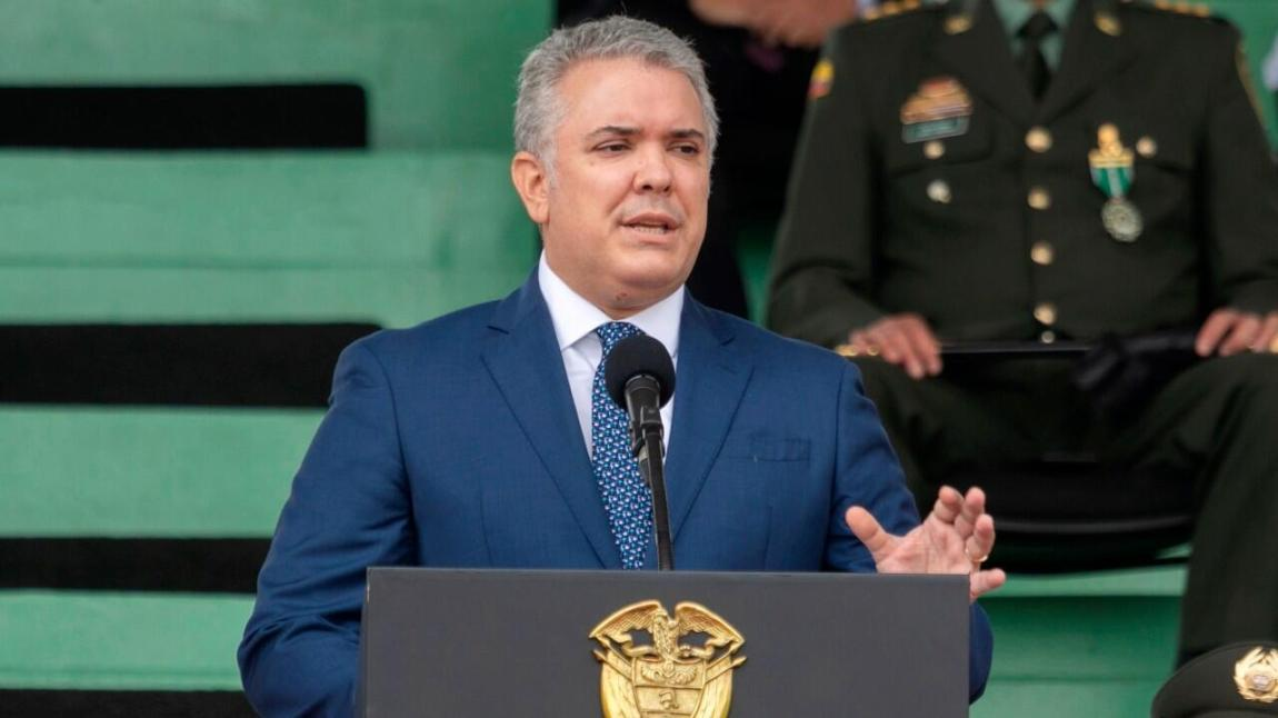 The president of Colombia, Iván Duque, announced a police reform from a cadet school in Bogotá.  June 6, 2021.
