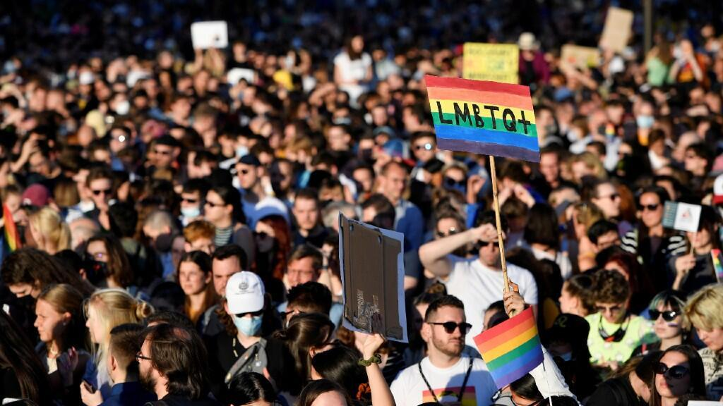 Protesters protest against Hungarian Prime Minister Viktor Orban and the latest anti-LGBTQ law in Budapest, Hungary, on June 14, 2021.