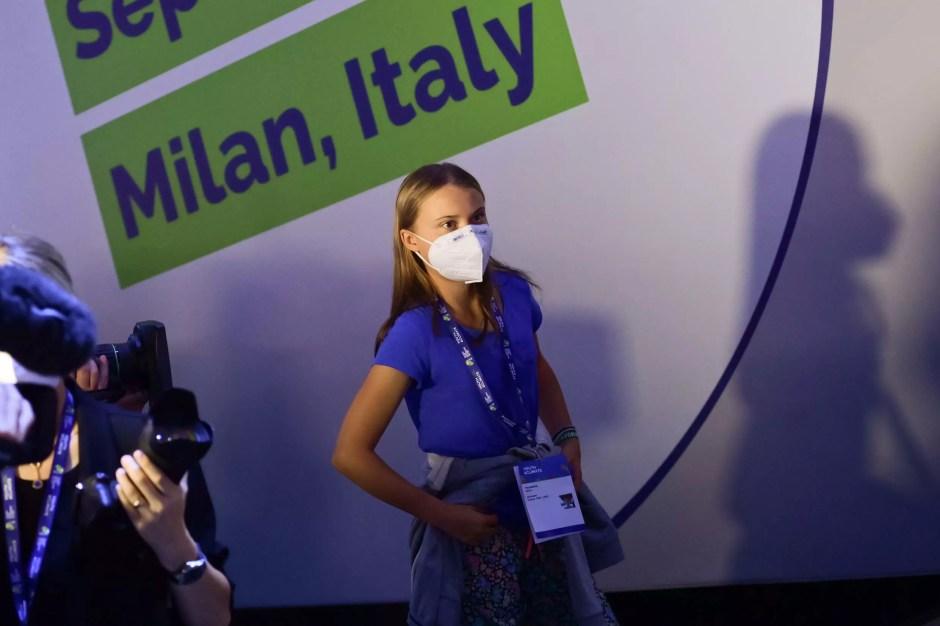 Greta Thunberg durante una cumbre de jóvenes en Milán (Italia), el 28 de septiembre de 2021