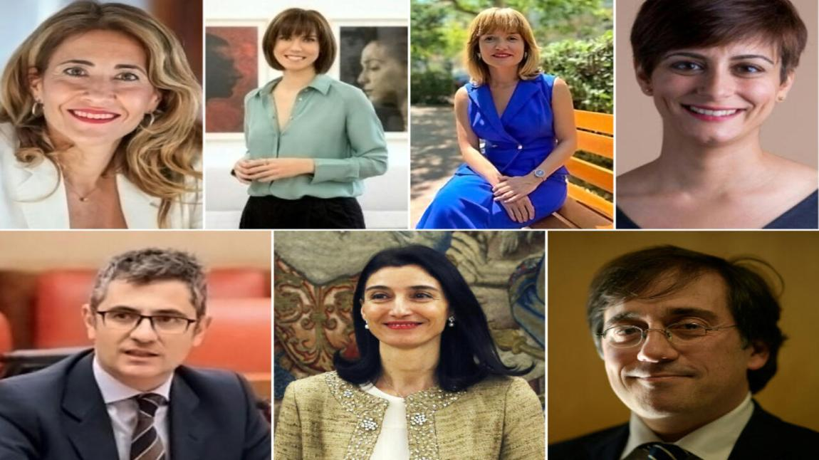 New members of the Spanish government cabinet.  Top row from left  Right: Pilar Alegría, Diana Morant, Raquel Sánchez and Isabel Rodríguez.  Bottom row from left  Right: Félix Bolaños, Pilar Llop, José Manuel Albares.