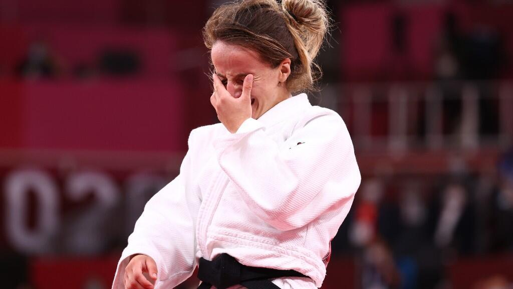 Judoka Distria Krasniqi is excited after winning the gold medal for Kosovo in the 48 kilogram final in Tokyo, Japan on July 24, 2021.