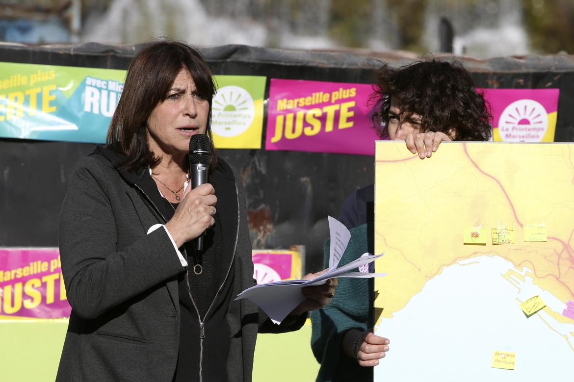 "Michele Rubirola, candidate for the new left side list ""Le Printemps Marseillais"" (union of several left movements, including the Socialist Party) for the 2020 mayoral elections in Marseille gives a speech during a meeting at the Parc Longchamps on March 7, 2020, in Marseille, southern France."