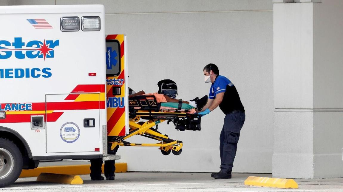 Sunstar paramedics admit a patient to the Morton Plant Hospital emergency room amid a Covid-19 outbreak in Clearwater, Florida, USA, on August 3, 2021.