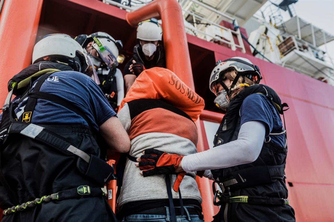 The rescue ship Ocean Viking, of the humanitarian organization SOS Méditerranée, sails with 555 migrants on board, after the last rescue operation.