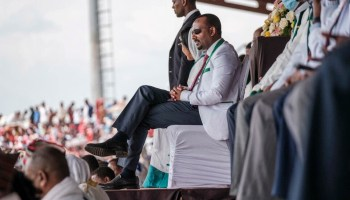Ethiopian Prime Minister Abiy Ahmed at a campaign rally in Jimma on June 16, 2021.