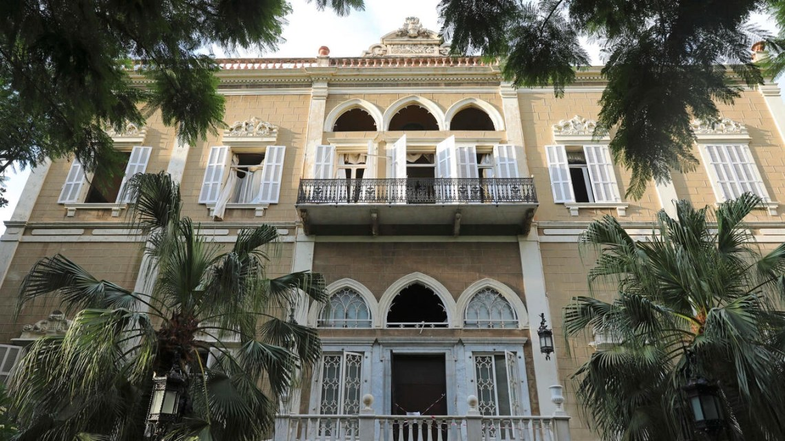 Damaged windows are seen at Sursock Palace (1860) following the colossal port explosion in the Lebanese capital Beirut