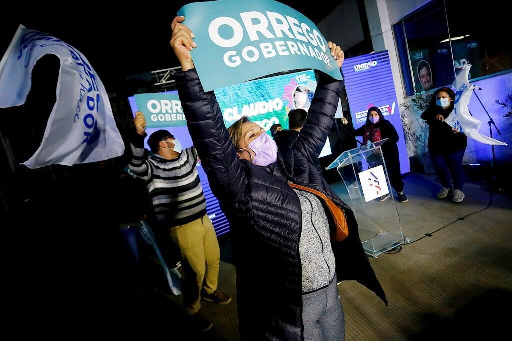 Supporters of the elected governor for the metropolitan region, Claudio Orrego, celebrate the victory today, during the second round of the elections for regional governors, in Santiago (Chile).