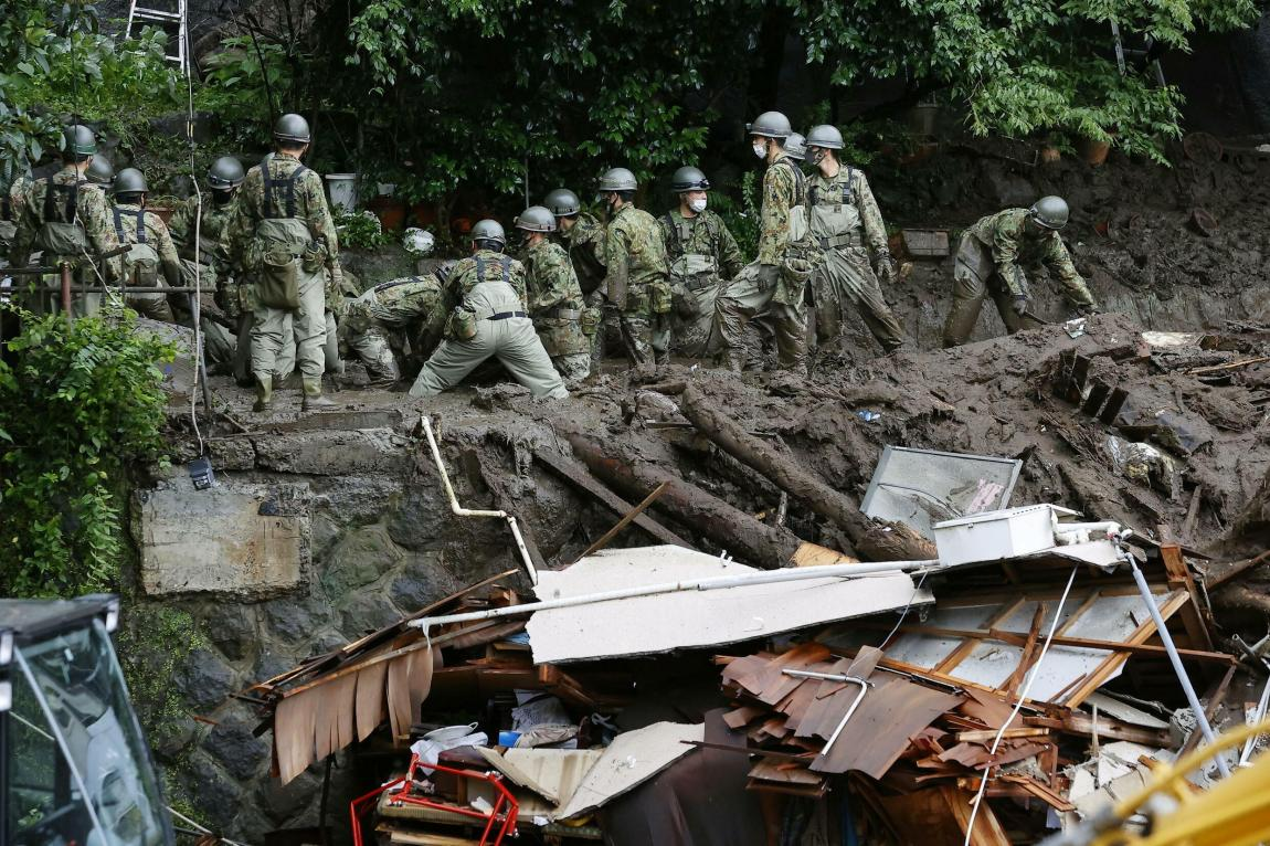 Rescue teams search for survivors in Atami, Japan, on July 5, 2021.