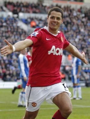Javier Hernandez Chicharito comemora gol do Manchester United (Foto: Reuters)