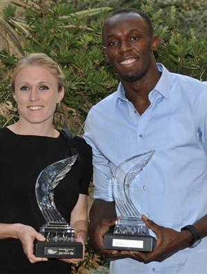Usain Bolt e Sally Pearson na premiação dos melhors do ano no atletismo (Foto: Agência Reuters)