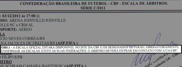 arbitragem árbitro escala (Foto: Reprodução)