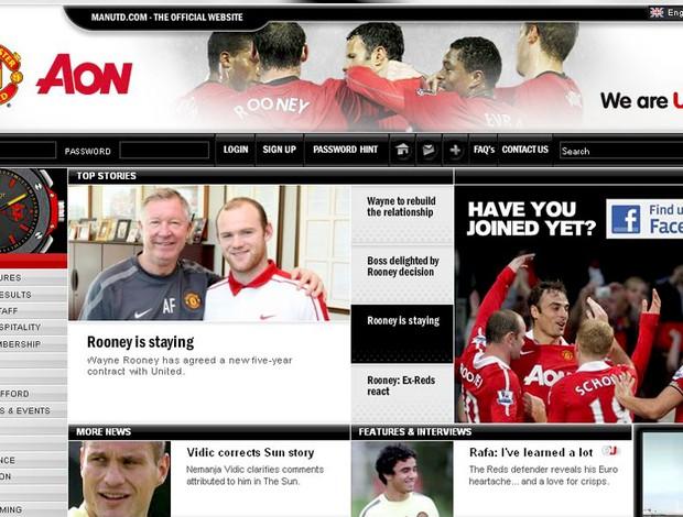 site do manchester united anuncia renovação de rooney