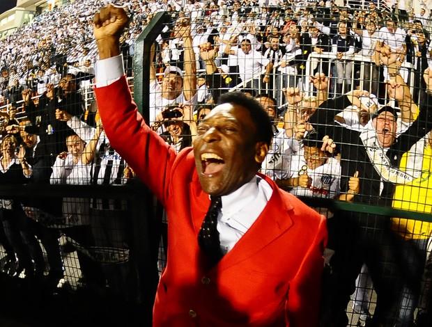 Pelé comemora o título do Santos (Foto: Marcos Riboli / Globoesporte.com)
