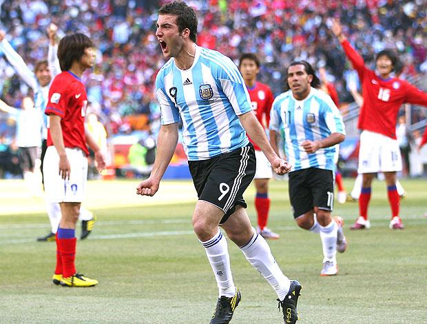 Gonzalo Higuaín comemoração gol Argentina contra Coreia do Sul