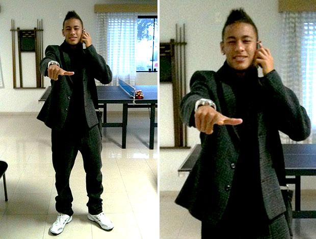 Neymar chega ao treino do Santos