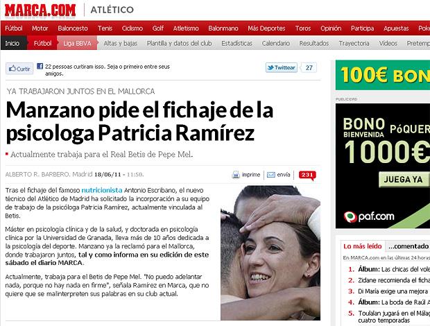 reprodução marca.com patricia ramirez psicologa atlético de madri (Foto: Reprodução Jornal Marca.com)
