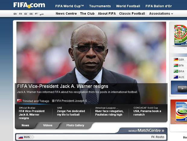 Jack Warner renuncia cargos na Fifa e Concacaf (Foto: fifa.com)