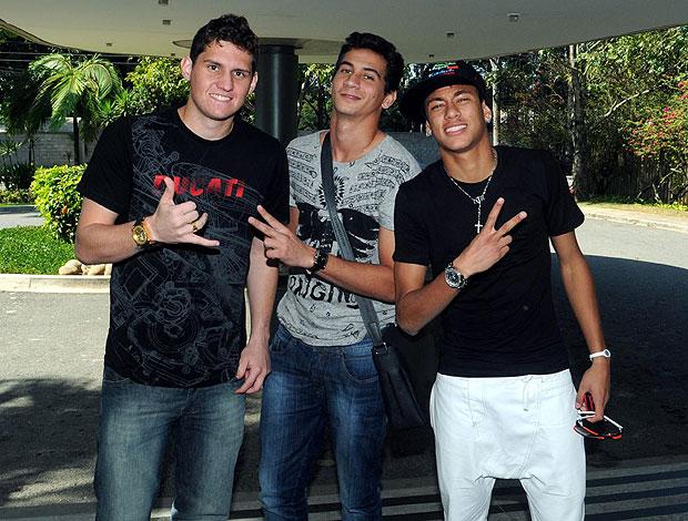 Neymar, Ganso e Rafael no Projac (Foto: André Durão / GLOBOESPORTE.COM)