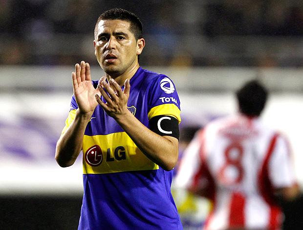 Riquelme na partida do Boca Juniors contra o União de Santa Fé (Foto: Reuters)