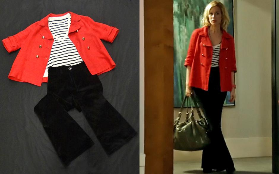 As listras são tendências e ficam ótimas quando casadas com uma peça colorida, como é o caso do casaco vermelho