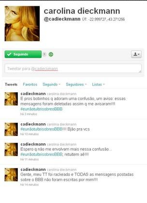 Carolina Dieckmann tem perfil hackeado (Foto: Reprodução /Twitter)