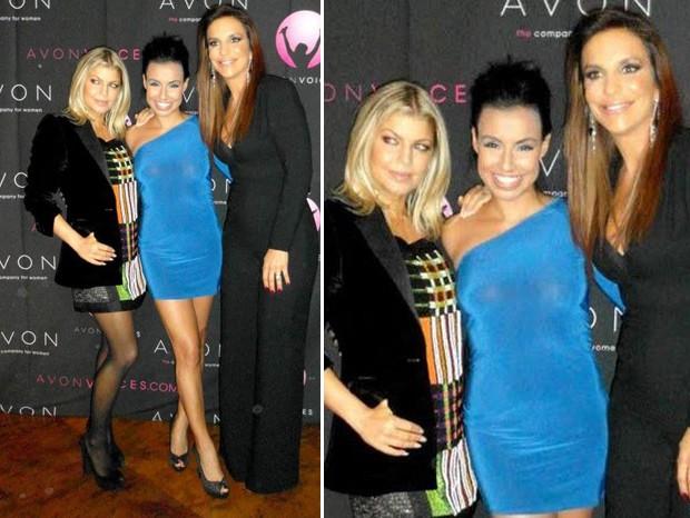 Ivete Sangalo com Fergie e Diane Warren na final do Avon Voices, em Nova York (Foto: Twitter / Reprodução)