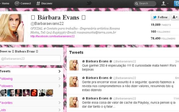 Bárbara Evans no Twitter (Foto: Reprodução/Twitter)