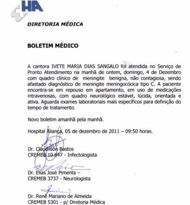 Boletim médico de Ivete Sangalo (Foto: Reprodução)