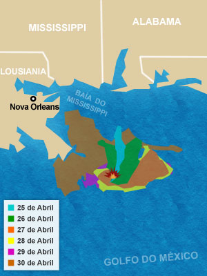 Mapa mostra local do vazamento.