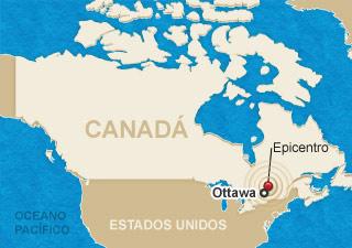 Mapa mostra a localização de tremor no Canadá