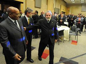 Lula, Celso Amorim e Jacob Zuma, presidente da África do Sul