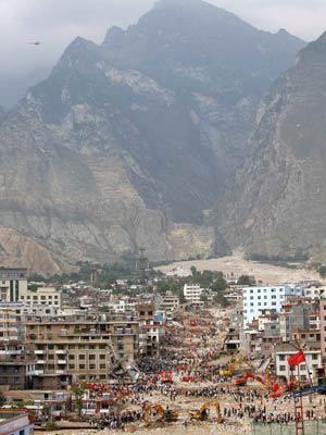 Região de Zhouqu, na província de Gansu, onde ocorreram deslizamentos