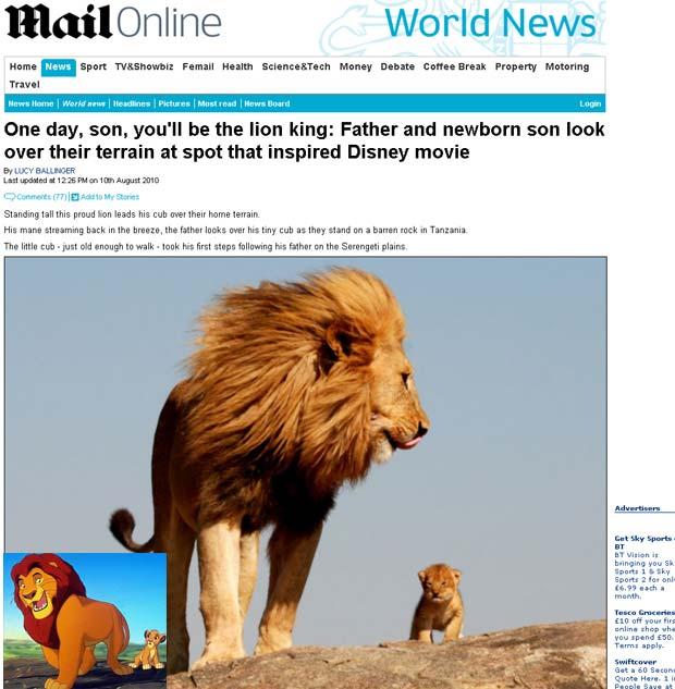 Leão e filhote em foto que lembra o flime 'O Rei Leão'.