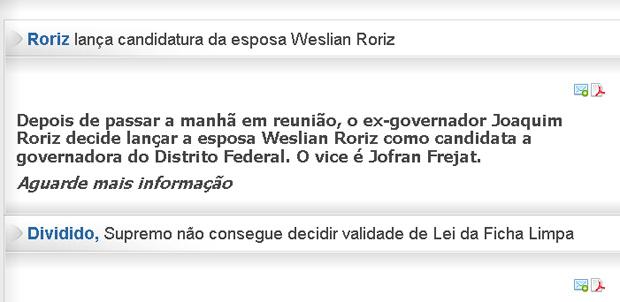 Renuncia da candidatura RORIZ