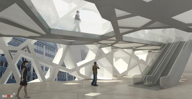 Outra imagem mostra como seria o interior da construção.