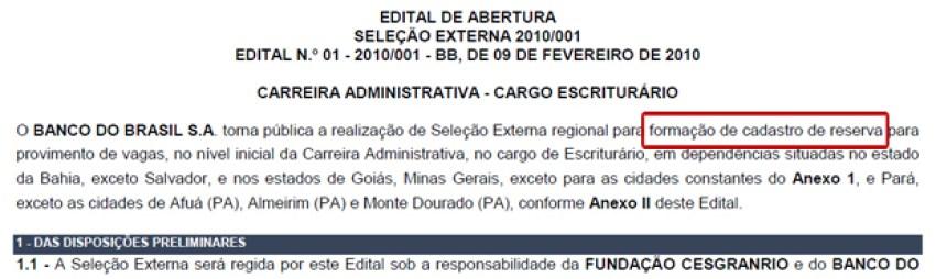 edital banco do brasil cadastro reserva - edital de concurso, o que é um edital de concurso, ler e entender um edital de concurso,