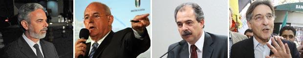 Da esq. para a dir.: Antonio Patriota, Nelson Jobim, Aloizio Mercadante e Fernando Pimentel