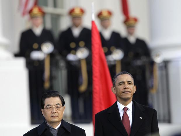 O presidente dos EUA, Barack Obama, e o da China, Hu Jintao, durante cerimônia de Estado nesta quarta-feira (19) na Casa Branca.