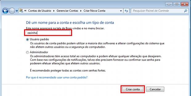 Criando uma nova conta de usuário para que possa ser monitorada pelo Windows (Foto: Reprodução)