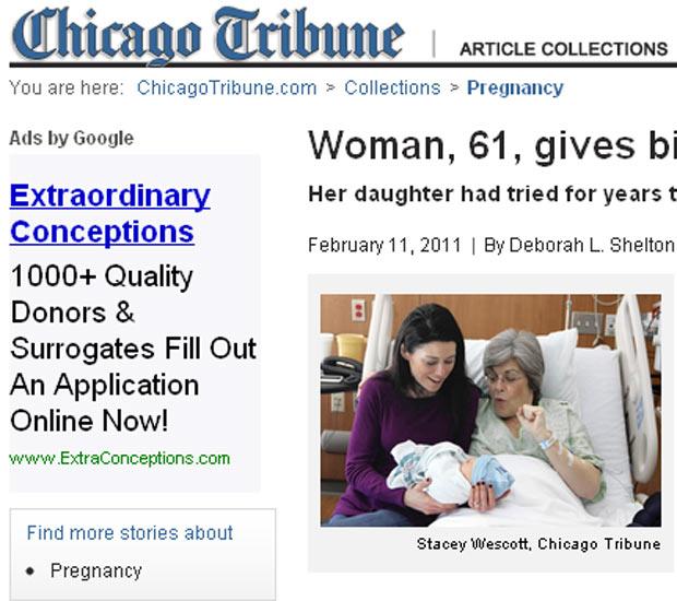 Imagem mostra Kristine Casey e a filha Sarah Connell com o bebê, Fillean (Foto: Chicago Tribune / Reprodução)