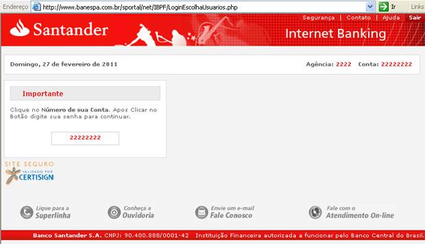 Página falsa do Santander, acessada pelo proxy, via domínio do Banespa (Foto: Reprodução)