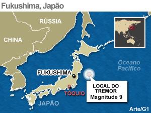 Mapa localiza Fukushima, no Japão (Foto: Arte/G1)