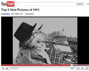 Equipe do YouTube reproduziu 'memes' modernos com visual de 1911 (Foto: Reprodução/YouTube)