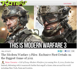 Site Kotaku nos EUA publica primeiras informações de 'Modern Warfare 3' (Foto: Reprodução)