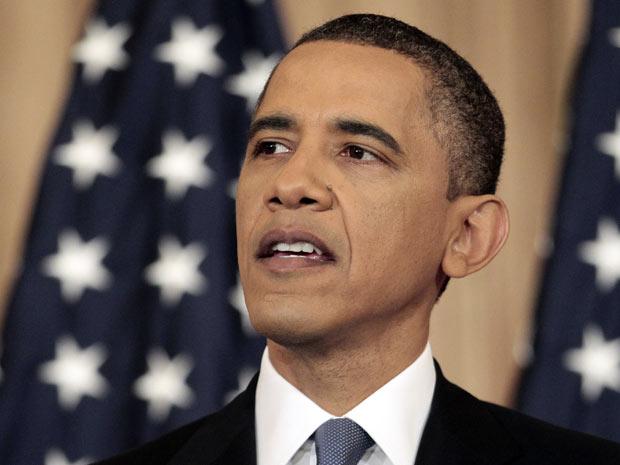 O presidente dos EUA, Barack Obama, discursa sobre a política americana para os países árabes, nesta quinta-feira (19) na Casa Branca (Foto: AP)