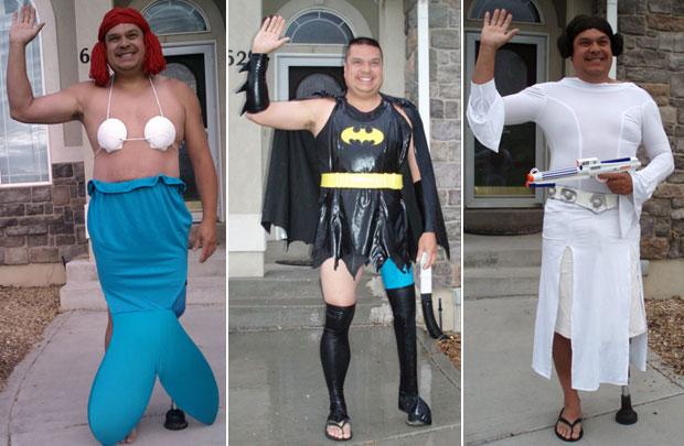Dale fantasiado de 'Ariel', 'Batgirl' e 'Princesa Leia', respectivamente (Foto: Reprodução/Internet)