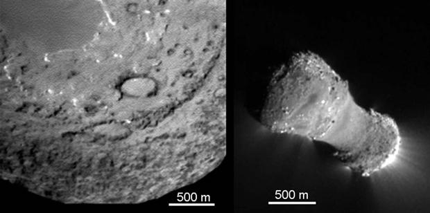 Comparação entre os cometas Tempel 1 (esquerda) e Hartley 2 (direita), registrados com o mesmo equipamento e exibidos com a mesma escala (Foto: Science/AAAS)