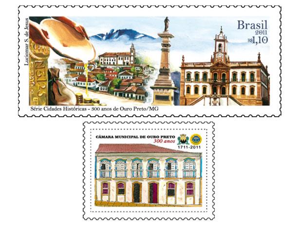 Acima o selo comemorativo dos 300 anos de Ouro Preto. A figura abaixo ilustra o selo comemorativo da Câmara Municipal (Foto: Divulgação / Correios)